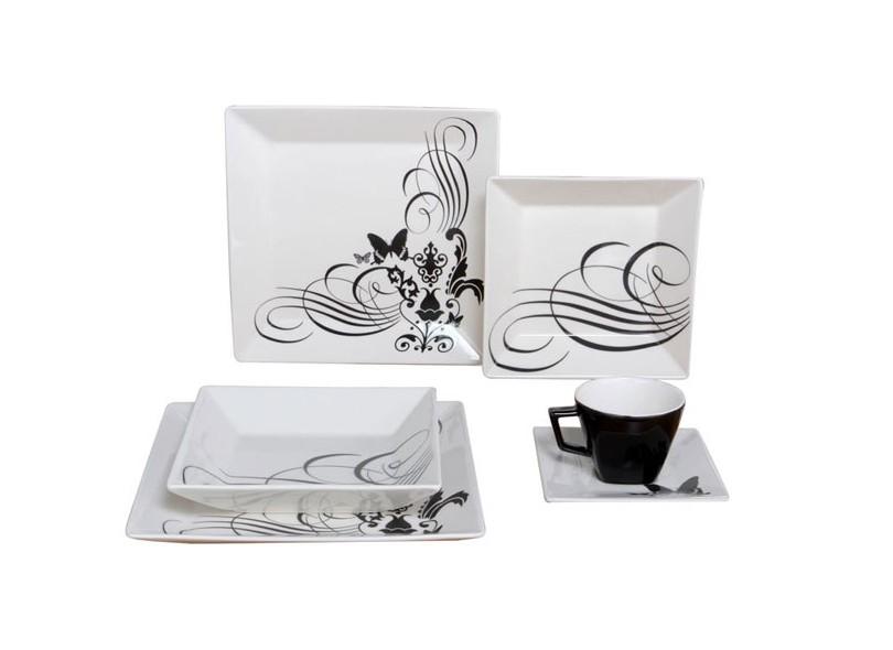 Aparelho De Jantar Quadrado De Porcelana 30 Peças Quartier Tattoo