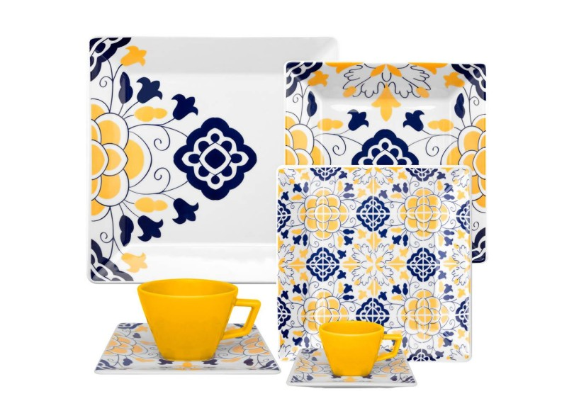Aparelho De Jantar Quadrado De Porcelana 42 Peças Quartier Sevilha