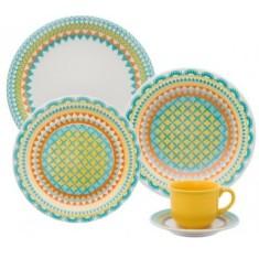 Aparelho de Jantar Redondo de Cerâmica 20 peças - Floreal Bilro Oxford Porcelanas
