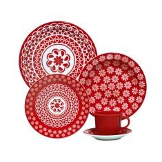 Aparelho de Jantar Redondo de Cerâmica 20 peças - Floreal Renda Oxford Porcelanas
