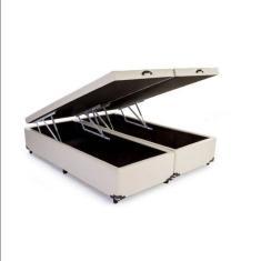 Base Cama Box Baú Queen Suede Bege 158cm Sonho Camas e Móveis