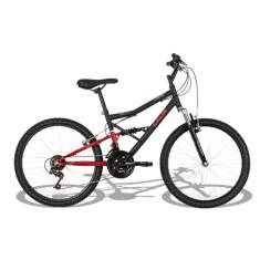 Bicicleta Mountain Bike Caloi 21 Marchas Aro 24 Suspensão Full Suspension Freio V-Brake Shok