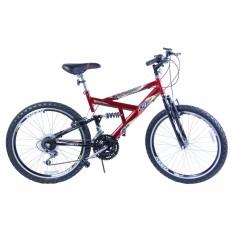 Bicicleta Mountain Bike Dalannio Bike 18 Marchas Aro 20 Suspensão Full Suspension Freio V-Brake Max 240