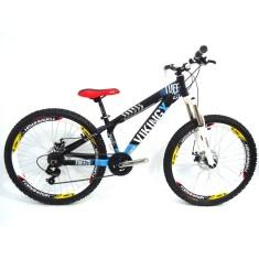 Bicicleta Mountain Bike Vikingx 21 Marchas Aro 26 Suspensão Dianteira Freio a Disco Mecânico Tuff25