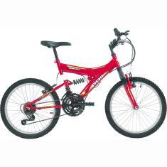 Bicicleta Polimet 18 Marchas Aro 20 Suspensão Full Suspension Freio V-Brake Kanguru