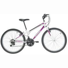 Bicicleta Polimet 18 Marchas Aro 24 Freio V-Brake Podium Feminina
