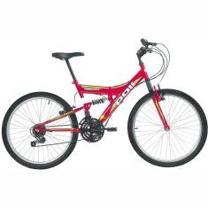 Bicicleta Polimet 18 Marchas Aro 24 Suspensão Full Suspension Freio V-Brake Kanguru