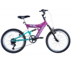 Bicicleta Track & Bikes 6 Marchas Aro 20 Suspensão Full Suspension Freio V-Brake XS 20