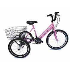 Bicicleta Triciclo Valdo Bike 21 Marchas Aro 24 Freio V-Brake Borboleta