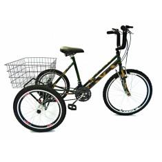 Bicicleta Triciclo Valdo Bike 21 Marchas Aro 24 Freio V-Brake Camuflado