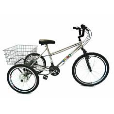 Bicicleta Triciclo Valdo Bike 21 Marchas Aro 26 Freio a Disco Mecânico Alumínio