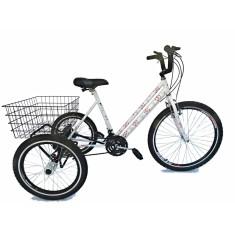 Bicicleta Triciclo Valdo Bike 21 Marchas Aro 26 Freio V-Brake Floral