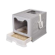 Caixa de areia para gatos, grande caixa de areia dobrável para gatos com tampa, penico para gatos, suprimento para gatos com colher de plástico para animais de estimação