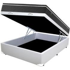 Cama Box Baú Casal com Colchão Mola Bonnel 138cm SP Móveis