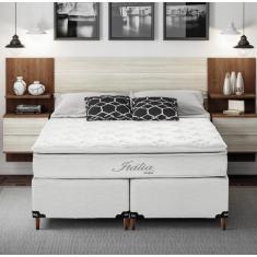 Cama Box Queen com Colchão Itália com Pillow Top e Molas Ensacadas 158cm Umaflex