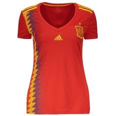 Camisa Torcedor Feminina Espanha I 2018 19 sem Número Adidas c36dd05f5c622