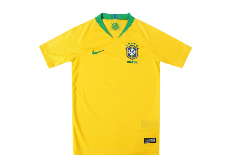 Camisa Infantil Brasil I 2018 19 com Nome e Número Torcedor Masculino Nike fc9e5cd885508
