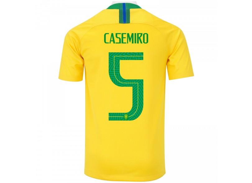 Camisa Infantil Brasil I 2018 19 com Nome e Número Torcedor Masculino Nike dc22af29b0da6