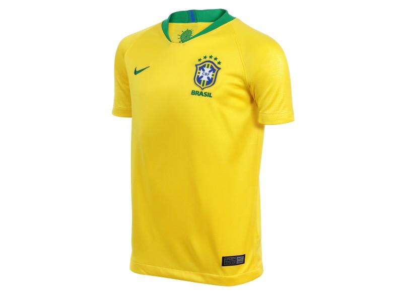 de0da9e9f0baa Camisa Infantil Brasil I 2018 19 sem Número Torcedor Masculino Nike