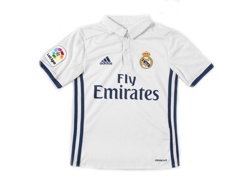 Camisa infantil Real Madrid I 2016 17 sem Número Torcedor Infantil Adidas  b57480b9a76fdd ... ced686e0cf054
