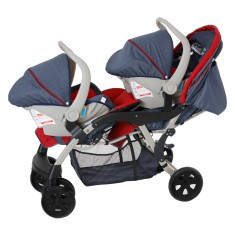Carrinho de Bebê para Gêmeos Travel System com Bebê Conforto Galzerano Dóppio Jeans