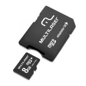 Cartão de Memória Micro SD com Adaptador Multilaser 8 GB MC004