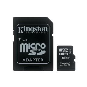 Cartão de Memória Micro SDHC com Adaptador Kingston 16 GB MBLY4G2/16GB