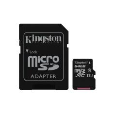 Cartão de Memória Micro SDXC com Adaptador Kingston 64 GB SDC10G2/64GB
