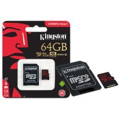 Cartão de Memória Micro SDXC com Adaptador Kingston Canvas React 64 GB SDCR/64GB