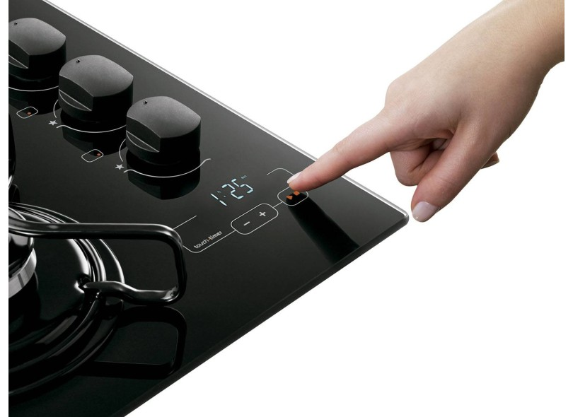 3651c6247 Cooktop Brastemp Ative BDT85AE 5 Bocas Acendimento Superautomático  Queimador com Quadrichama Timer Sonoro Painel Touch Screen Display Digital