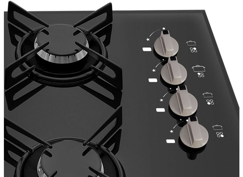 854f8fed8 Cooktop Philco Chef 4 TC 4 Bocas Acendimento Superautomático Queimador com  Tripla Chama Queimadores Diferentes