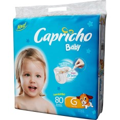 Fralda Capricho Baby Tamanho G Super Jumbo 80 Unidades Peso Indicado 10 - 13kg