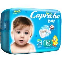 Fralda Capricho Baby Tamanho M Prático 24 Unidades Peso Indicado 5 - 10kg