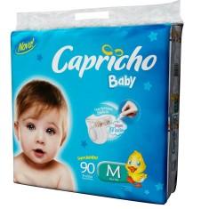 Fralda Capricho Baby Tamanho M Super Jumbo 90 Unidades Peso Indicado 5 - 10kg