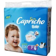Fralda Capricho Baby Tamanho P Super Jumbo 100 Unidades Peso Indicado 3,5 - 5kg