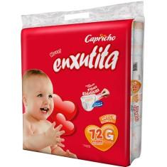 Fralda Capricho Enxutita Tamanho G Super Jumbo 72 Unidades Peso Indicado 10 - 13kg
