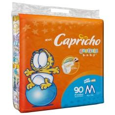 Fralda Capricho Garfield Tamanho M Jumbo 90 Unidades Peso Indicado 5 - 10kg