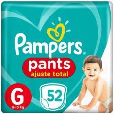 Fralda de Vestir Pampers Pants Ajuste Total Tamanho G 52 Unidades Peso Indicado 9 - 13kg