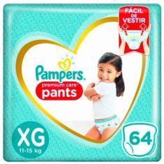 Fralda de Vestir Pampers Pants Premium Care Tamanho XG 64 Unidades Peso Indicado 11 - 15kg