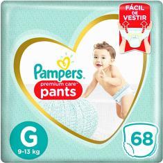 Fralda de Vestir Pampers Premium Care Pants Tamanho G 68 Unidades Peso Indicado 9 - 13kg