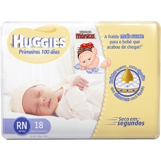 Fralda Huggies Primeiros 100 Dias Tamanho Recém Nascido (RN) 18 Unidades Peso Indicado Até 4kg