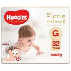 Fralda Huggies Turma da Mônica Natural Care Tamanho G 32 Unidades Peso Indicado 9 - 12,5kg