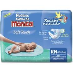 Fralda Huggies Turma da Mônica Soft Touch Tamanho Recém Nascido (RN) 18 Unidades Peso Indicado Até 3,5kg