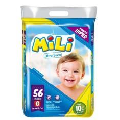Fralda Mili Ultra Seca Tamanho G Hiper 56 Unidades Peso Indicado 9 - 12,5kg