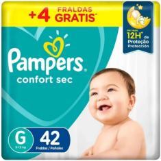 Fralda Pampers Confort Sec Tamanho G 42 Unidades Peso Indicado 9 - 13kg