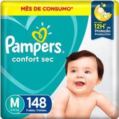 Fralda Pampers Confort Sec Tamanho M 148 Unidades Peso Indicado 6 - 10kg