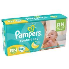 Fralda Pampers Confort Sec Tamanho Recém Nascido (RN) 36 Unidades Peso Indicado Até 6kg