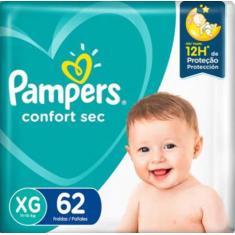 Fralda Pampers Confort Sec Tamanho XG 62 Unidades Peso Indicado 11 - 15kg