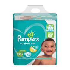 Fralda Pampers Confort Sec Tamanho XXG Super 56 Unidades Peso Indicado +14kg
