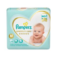 Fralda Pampers Premium Care Tamanho M 34 Unidades Peso Indicado 6 - 10kg